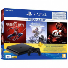 SONY PlayStation 4 1Tb Slim + Человек Паук + HZD + GTS + PS Plus